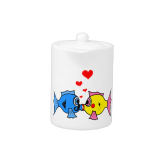 Cute Kissing Fish with Hearts Design Teapot