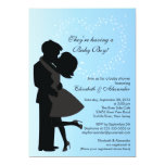 """Cute Kissing Pregnant Couple in Love Baby Shower 5"""" X 7"""" Invitation Card"""