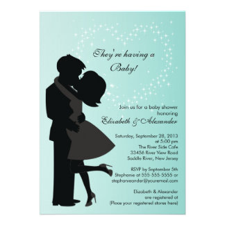 Cute Kissing Pregnant Couple in Love Baby Shower Invites