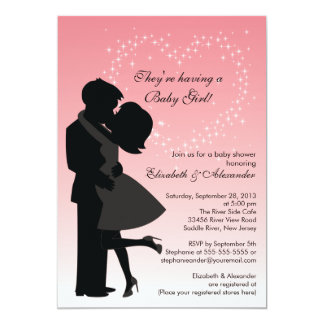 Cute Kissing Pregnant Couple in Love Baby Shower Custom Invites