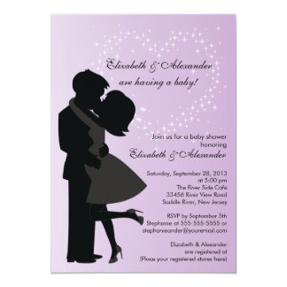 Cute Kissing Pregnant Couple in Love Baby Shower Personalized Invites