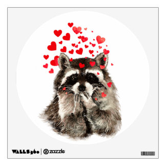 Cute Kissing Raccoon Funny Love Hearts Wall Sticker