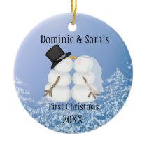 Cute Kissing Snowman First Christmas Ornament