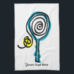 "Cute Kitchen towel for tennis player and coach<br><div class=""desc"">Cute Kitchen towel for tennis player and coach. Tennis racket and yellow ball design. Personalizable with family name,  surname,  funny quote,  monogram etc. Sportsh theme Birthday gift idea.</div>"