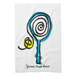 Cute Kitchen towel for tennis player and coach<br><div class='desc'>Cute Kitchen towel for tennis player and coach. Tennis racket and yellow ball design. Personalizable with family name,  surname,  funny quote,  monogram etc. Sportsh theme Birthday gift idea.</div>