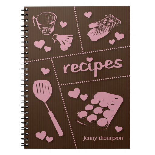 Cute Kitchenware Recipes Personalized Notebook