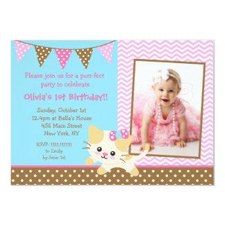 Cute Kitte Cat 1st Birthday Invitations