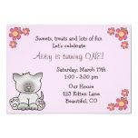 Cute Kitten 1st Birthday Invitation for Girls