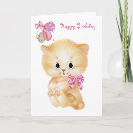 Cute Kitten And Balloons Happy Birthday Card Zazzle