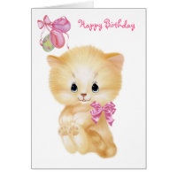 Cute Kitten and balloons - Happy Birthday Card
