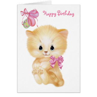 Cute Kitten and balloons - Happy Birthday Card