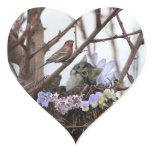 Cute kitten and bird nest heart sticker