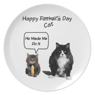 Cute Kitten and Grumpy Cat Father's Day Plate