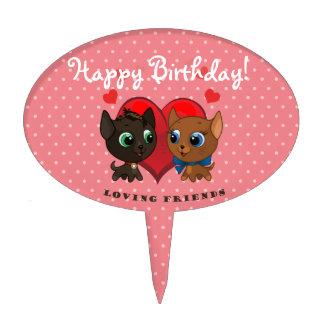 Cute kitten and kitty illustration cake topper