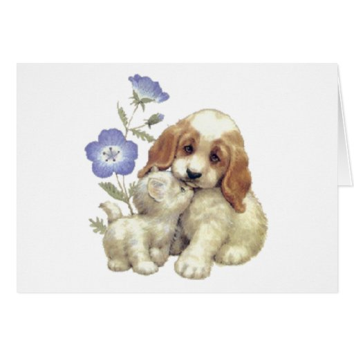 Cute Kitten And Puppy With Flowers Cards