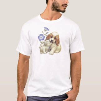Cute Kitten And Puppy With Flowers T-Shirt