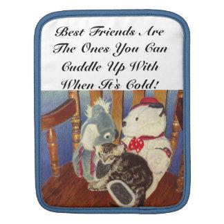 Cute Kitten and Stuffed Animals Macbook or iPad Ri Sleeves For iPads