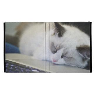 Cute Kitten Asleep on a Laptop iPad Folio Cases