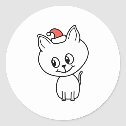 Cute Kitten at Christmas. Round Stickers