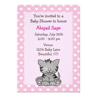 Cute Kitten Baby Girl Shower Invitation