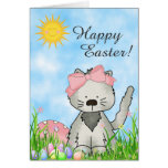 Cute Kitten, Basket and Eggs Happy Easter Card Greeting Card