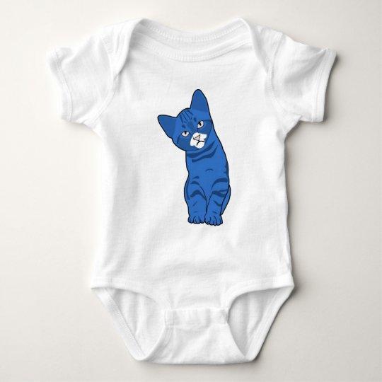 Cute kitten blue baby bodysuit