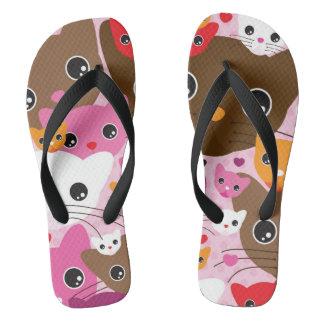 cute kitten cat background pattern flip flops