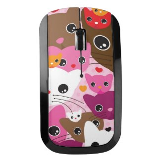 cute kitten cat background pattern wireless mouse