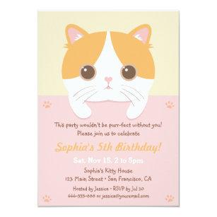 Cute kitten cat girls birthday party invitations cute kitten cat girls birthday party invitations filmwisefo