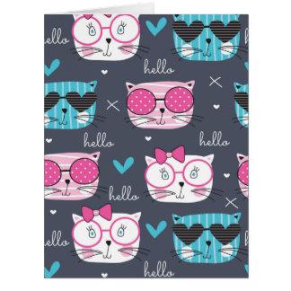 cute kitten,cat,heads,trendy,hipster,fun,happy,des card