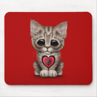 Cute Kitten Cat with Albanian Flag Heart, red Mouse Pad