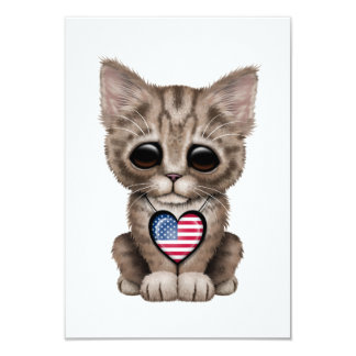 Cute Kitten Cat with American Flag Heart Card