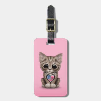 Cute Kitten Cat with American Flag Heart, pink Tag For Bags
