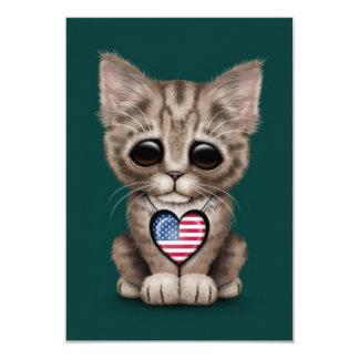 Cute Kitten Cat with American Flag Heart, teal blu Card