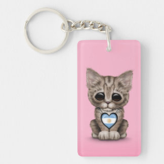 Cute Kitten Cat with Argentinian Flag Heart, pink Keychain