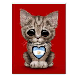 Cute Kitten Cat with Argentinian Flag Heart, red Postcard