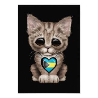 Cute Kitten Cat with Bahamas Flag Heart, black Card