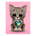 Cute Kitten Cat with Bahamas Flag Heart, pink Postcard