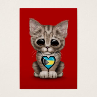 Cute Kitten Cat with Bahamas Flag Heart, red Business Card