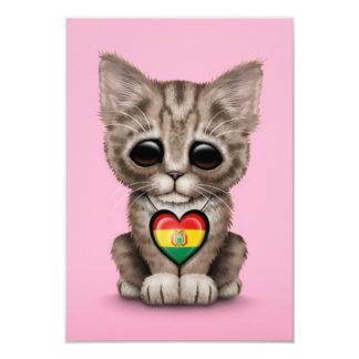 Cute Kitten Cat with Bolivian Flag Heart, pink Card