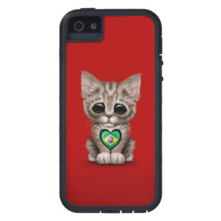 Cute Kitten Cat with Brazilian Flag Heart, red Case For iPhone SE/5/5s