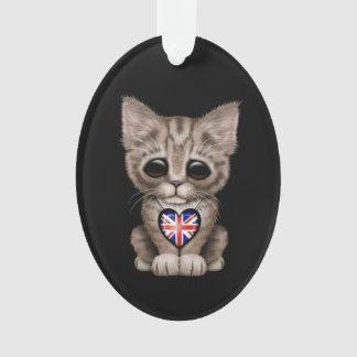 Cute Kitten Cat with British Flag Heart, black Ornament