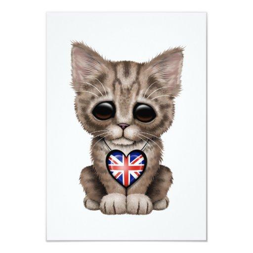 Cute Kitten Cat with British Flag Heart Custom Invitation