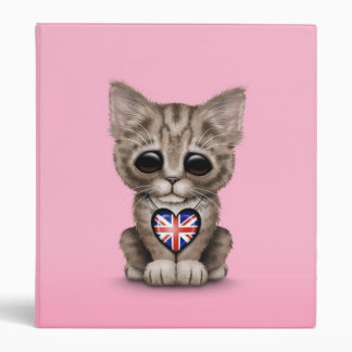Cute Kitten Cat with British Flag Heart, pink Binder