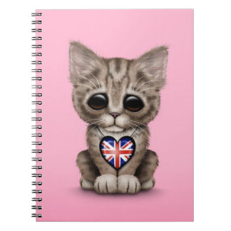Cute Kitten Cat with British Flag Heart, pink Notebooks