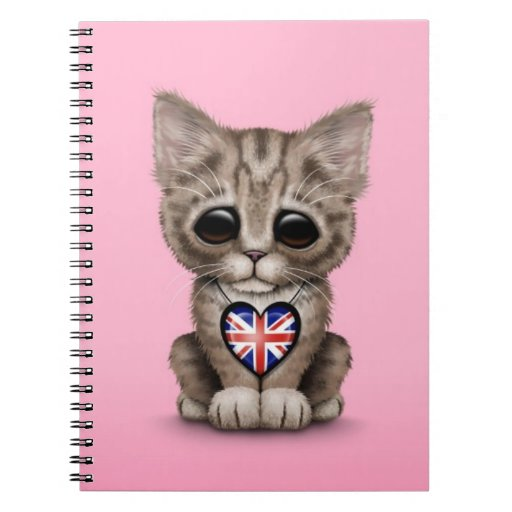 Cute Kitten Cat with British Flag Heart, pink Spiral Note Book