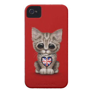 Cute Kitten Cat with British Flag Heart, red Case-Mate iPhone 4 Case