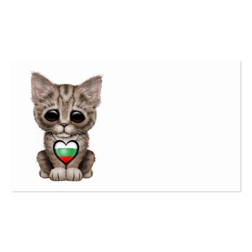 Cute Kitten Cat with Bulgarian Flag Heart Business Card