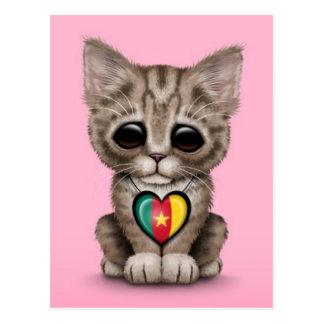 Cute Kitten Cat with Cameroon Flag Heart, pink Postcard