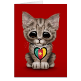 Cute Kitten Cat with Cameroon Flag Heart, red Card